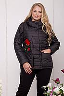 Стильная женская черная куртка большого размера  588-BLK Caramella 54-64 размеры