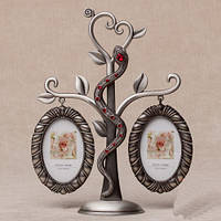 """Фоторамка металлическая Семейное дерево """"Змея и сердце. Красная"""" 22 см"""