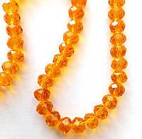 """Хрустальная бусина, """"рондель"""", оранжевая, 3х4 мм"""