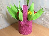 Корзина с 9  тюльпанами из фоамирана с конфетами( Шарм)