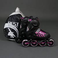 ".Ролики 9015 ""M"" Pink - Best Rollers /размер 35-38/ (6) колёса PU, без света, d=8.4см"