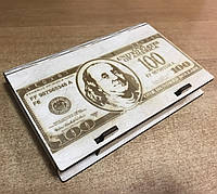 Шкатулка-купюрница из фанеры. $$$ ДОЛАР $$$. 12х17.5см