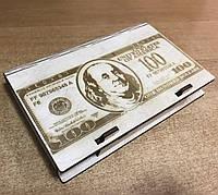 Шкатулка-купюрница из фанеры. $$$ ДОЛАР $$$. 12х17.5см , фото 1