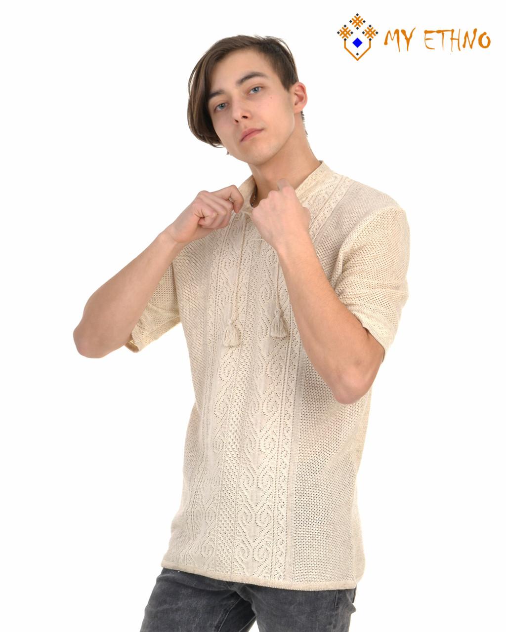 Мужская вязаная рубашка Андрей лен (короткий рукав)