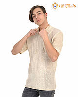 Мужская вязаная рубашка Андрей лен (короткий рукав), фото 1