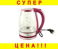 Стеклянный электро чайник - Domotec MS 8113 2200W (Красный)