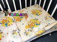Постельный набор в детскую кроватку (3 предмета) Мишки Пчелки Бежевый, фото 1