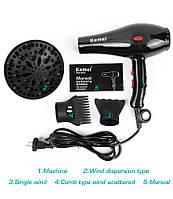 Профессиональный фен Kemei KM-8860, сушка для укладки волос, Мощный фен для волос, Фен с диффузором