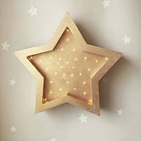 Детский ночник Звездочка Золото ручная работа светодиодные лампы размер 31 х 23см