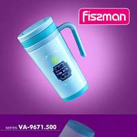 9671 Fissman Термо-кружка 500 мл блакитний (нерж. сталь)