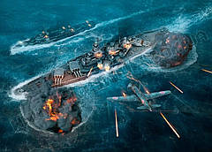 Картина 60х40 см Мир военных кораблей Битва