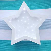Детский ночник из дерева Звезда Белый ручная работа светодиодные лампы размер 28 х 31см