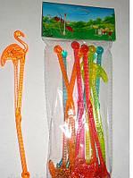 """Мешалки пластиковые для коктейлей """"фламинго"""" 22 см"""