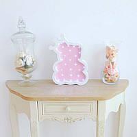Детский ночник Мишка с короной Розовый из дерева ручная работа размер 28х31см