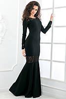 Платье вечернее длинное с длинный рукавом,в пол,платье рыбка.Размер S, M, L 42 44 46. Материал: креп дайвинг, гипюр Цвета: черный, красный, персиковый