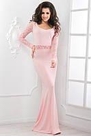 Элегантное вечернее платье,гепюровые длинные рукава,эффектно подчеркнет грудь,открытое декольте. Размер S, M, L Материал: креп дайвинг, гипюр Цвета: