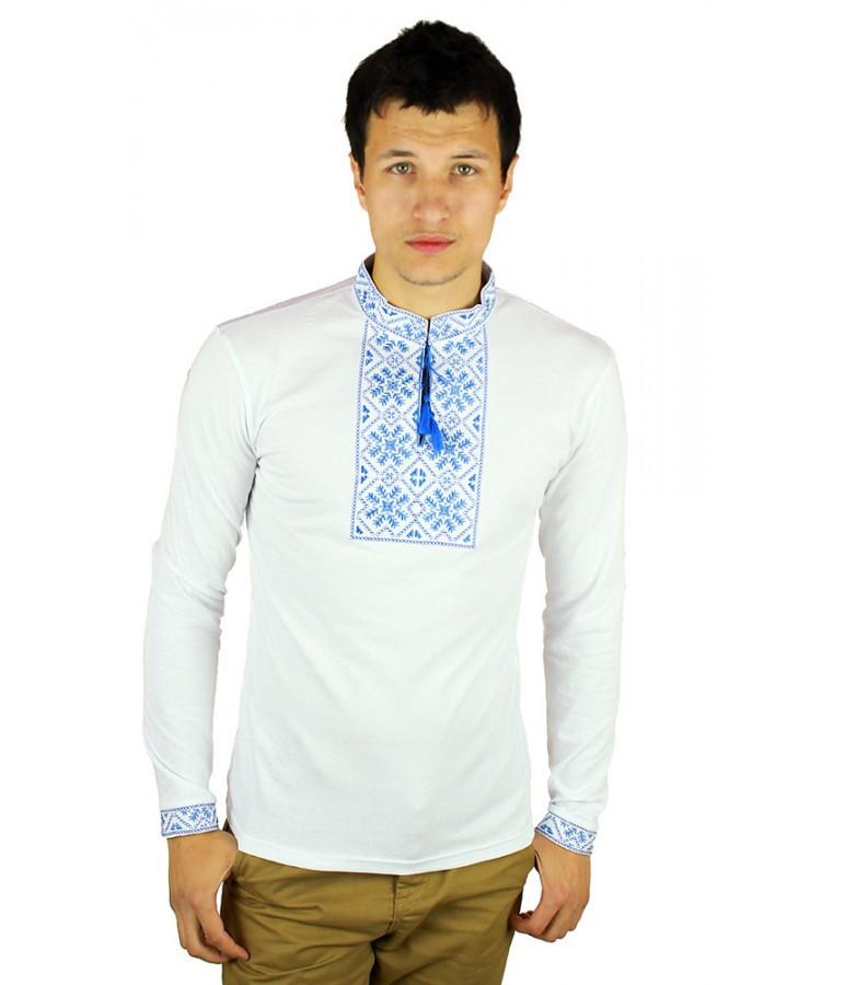 Вишита футболка хрестиком. Чоловіча футболка в українському стилі з довгим рукавом.