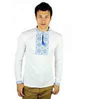 Вышитая футболка крестиком. Мужская футболка в украинском стиле с длинным рукавом., фото 1