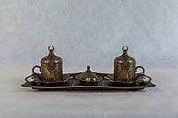 Кофейный набор № 2 металлический турецкий 2 чашки  +1 поднос+1 лукумница
