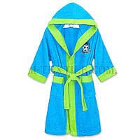 Голубой махровый халат для мальчиков 12-14 лет