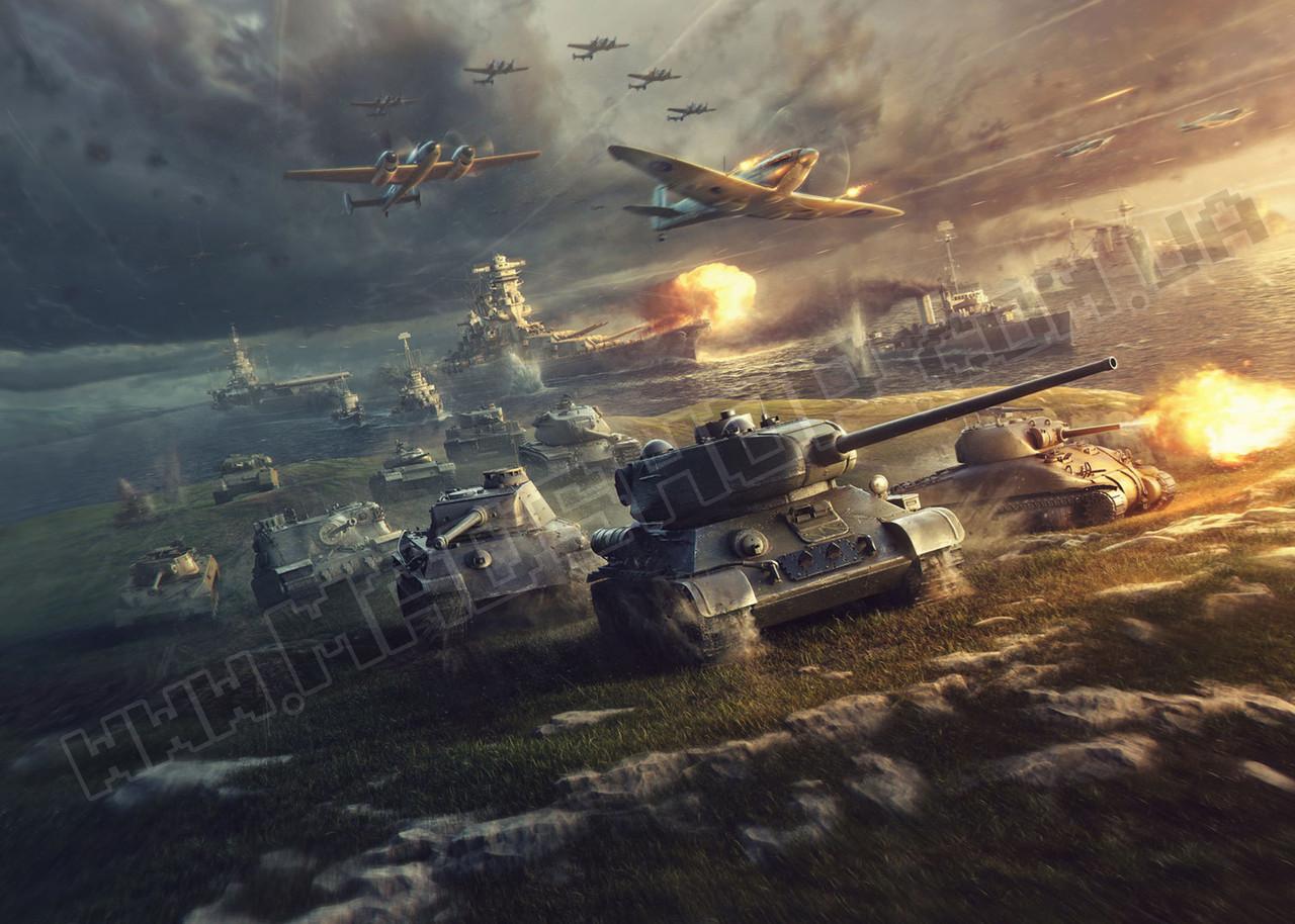 Картина 60х40 см Мир танков  Атака танков
