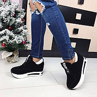 Ботиночки сникерсы на платформе Moschino черные  40 р