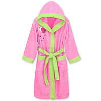 Розовый махровый халат  для девочек 8-10 лет