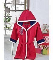 Бордовый  банный махровый халат   для девочки 8-10 лет