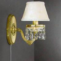 Бра RECCAGNI ANGELO A 6513/1 золото/стекло/ткань/хрусталь