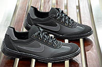 Туфли спортивные кроссовки мокасины мужские черные  Львов 2017. (Код: 408)