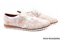 Стильные туфли женские Donna Ricco натуральная кожа золотистые цветные (слипоны, мокасины, платформа, Турция)