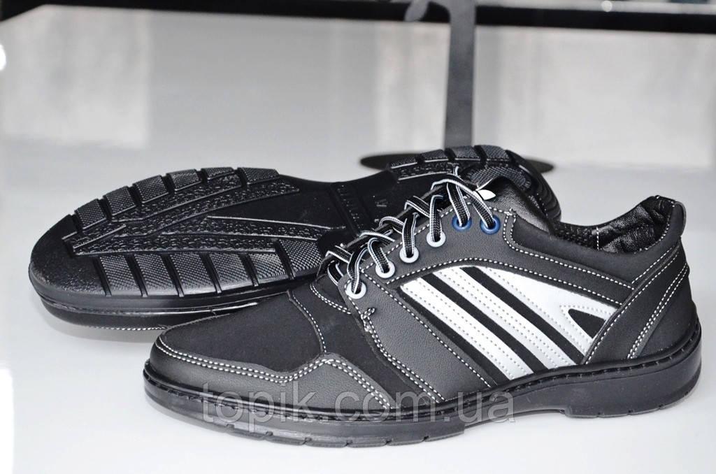 Туфли спортивные кроссовки популярные мужские черные . (Код: 409а)