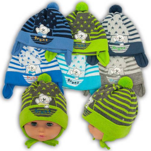 Вязаная шапка на завязках, для мальчиков, Ku301