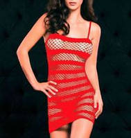 Сексапильное красное платье в полосочку