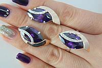 Серебряный гарнитур украшений - серьги и кольцо -с золотом и фианитами