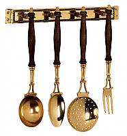 Аксесуари для кухні на підставці (ополоник, шумовка, ложка, виделка) 36х36 Stilars 130415