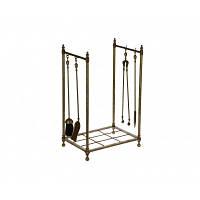 Підставка для дров з камінними приладдям (щипці, совок, мітла, кочерга) 41х67см Stilars 131976