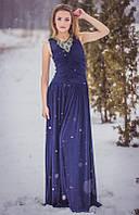 Вечернее платье в пол с вышивкой бисером