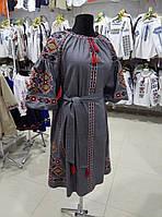 Вишиванка плаття сіре 6421