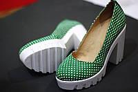 Стильные женские комфортные туфли от TroisRois из натурального турецкого замша в горошек