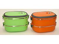 Термо ланч-бокс из нержавеющей стали, три контейнера с плотными крышками, контейнер для обеда