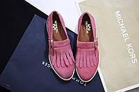 Женские туфли-лоферы от TroisRois из натуральной турецкой кожи с бахромой пудра