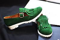 Женские туфли-лоферы от TroisRois из натуральной турецкой кожи с бахромой Зеленый