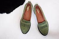 Стильные женские комфортные туфли- лоферы от TroisRois  из натурального турецкого замша 2.5, без , Натуральная кожа, Светло-зеленый