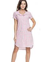 Платье-рубашка Dobra noсka (Польша) 7030, Цвет Коралловый клетка, Размер M
