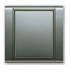 Выключатель одноклавишный + рамка. Титан/Титан. ABB Time