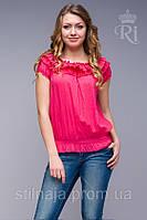 Блуза оборка из натуральной ткани яркие цвета