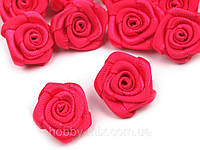 Розочка атласные ярко розовый  15мм. 5 шт., фото 1