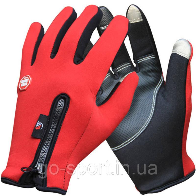 Велоперчатки утепленные c windstopper Красные