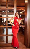 Шикарное красное платье в пол с баской. Арт-2067/22